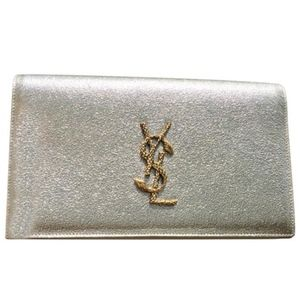 Ysl Snake Monogram Plantine Metallic Leather Bag